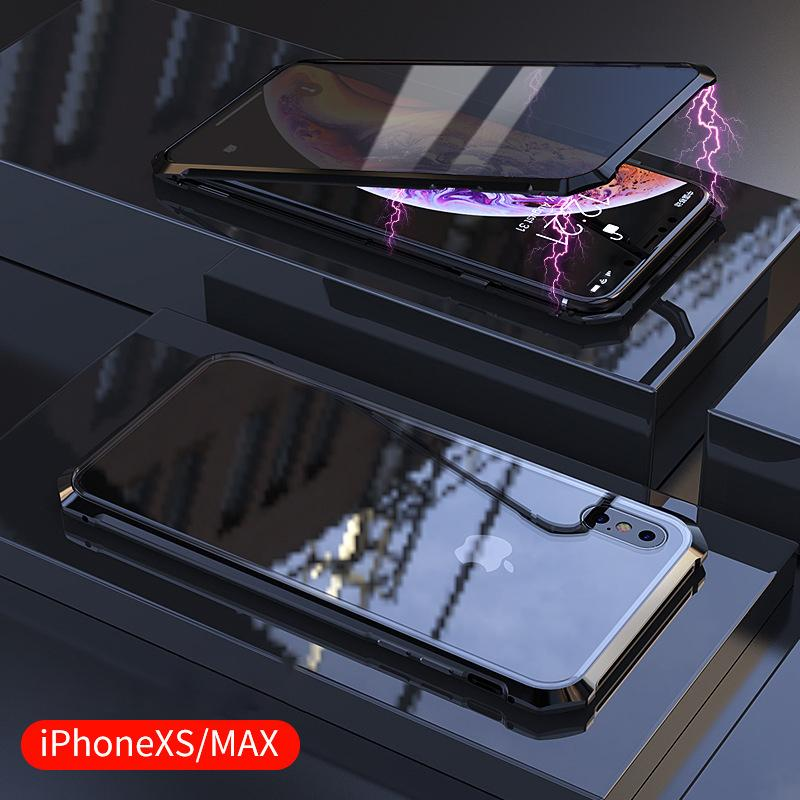 Third Generation Magnetic Adsorption Transparent Tempered Glass Two side Glass Cover Phone Case For iPhone X XS MAX XR 7 8 Plus