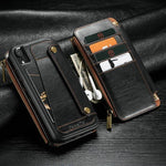 CaseMe Wallet Case For iPhone XR XS Max Samsung Note9 Wallet Zipper Card Holder Leather Flip Back Case For iPhone XS Max Detachable Phone Case
