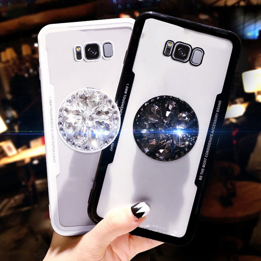 Samsung & Huawei Hot Selling Luxury Fashion Airbag Diamond Kickstand Phone Cases for Samsung S7 S8 S9 Plus Edge & Huawei P20 Pro Huawei P20 Lite  Case