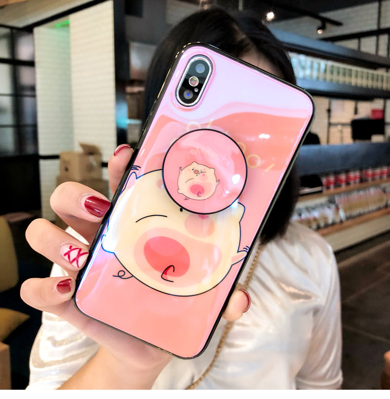 online store e50c7 1828c Pig Popsockets for iPhone 6 6S 7 8 Plus X XS MAX XR Phone Case