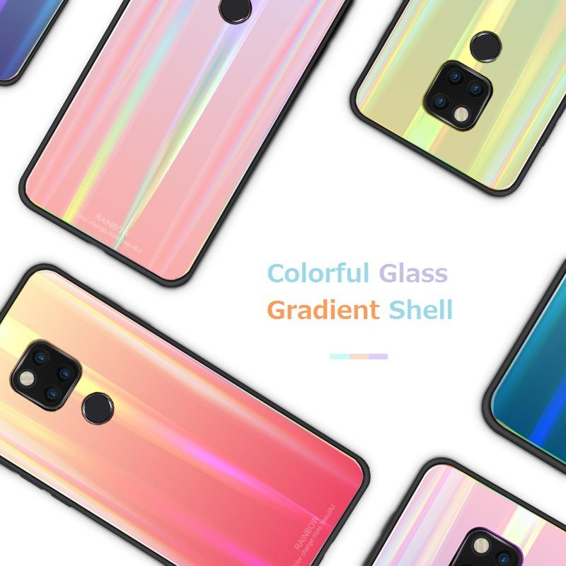 Aurora Colorful Glass Gradient Cover Case Slim Silicone Aurora Laser Coque for Huawei mate 20 pro