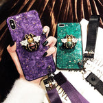 2019 New Bee-shaped iPhone & Samsung & HUAWEI Case with PopSockets and Hairball and 2 Lanyards