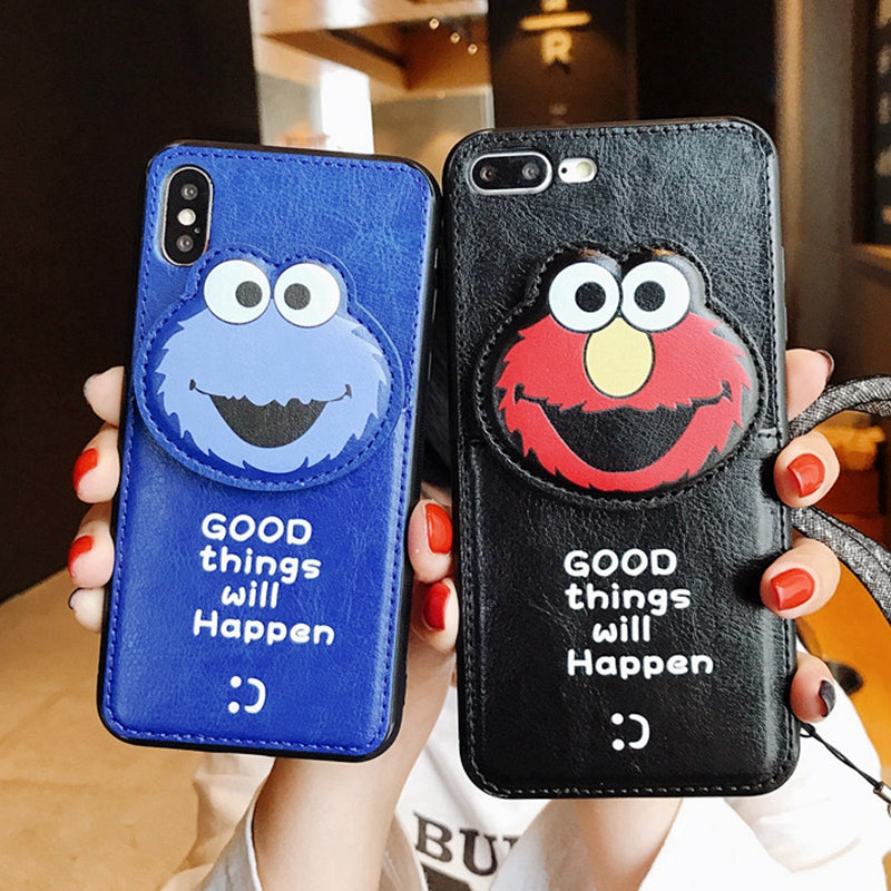 d7da465197a627 Seasame Street Leather Wallet Phone Bag Cases For iPhone 6s 6 7 8 Plus X XS