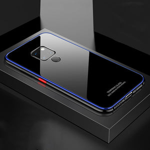 Luxury Plating Frame Case for Huawei Mate 20 Pro lite Metal Bumper Hard Tempered Glass Mirror Cover