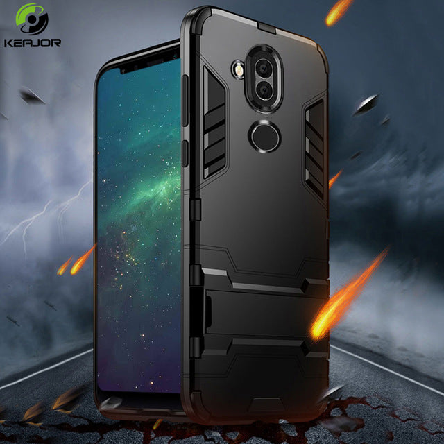 Bumper Shockproof Armor back cover TPU case with Holder For Huawei Mate 20 lite Pro 20 P20 Pro