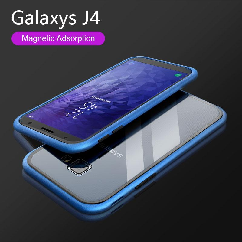 Magnetic Adsorption Flip Phone Case for Samsung J4 J6 J8 PLUS