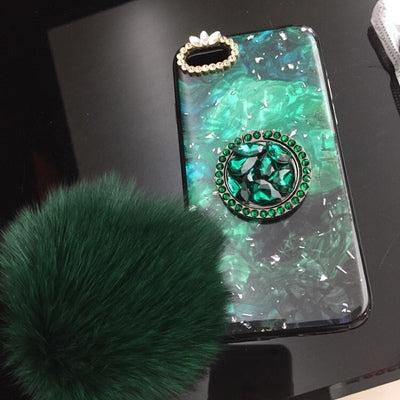 the best attitude efc35 72454 Diamond Furry String Popsocket Bracket Phone Case for iPhone 6 6S 7 8 Plus  X XS XR XS MAX