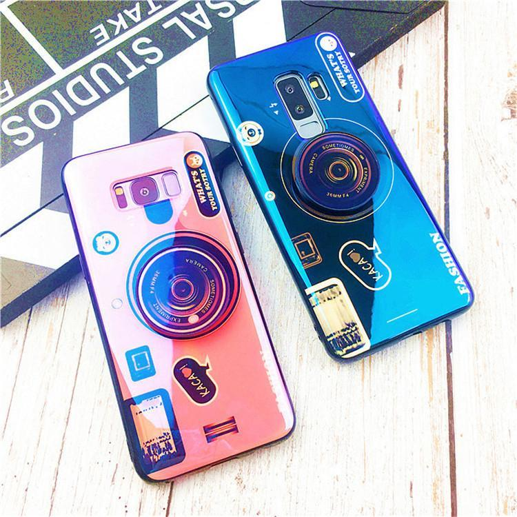 Retro camera cute cartoon soft phone case cover lanyard Messenger for samsung galaxy note9 case note8 S9 plus s8 plus s7 s7edge Case