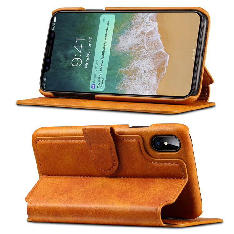 Flip Card Slots Leather Phone Case for iPhone 6 6S 7 8 Plus XS