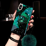 Diamond Furry String Popsocket Bracket Phone Case for iPhone 6 6S 7 8 Plus X XS XR XS MAX
