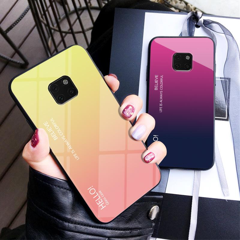 Luxury Hard Tempered Glass Fashion Gradient Protect Back Cover Case For Huawei Mate 20 20pro