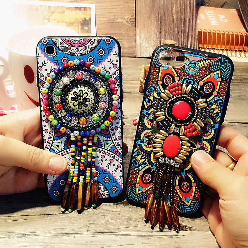 Vintage Folk-custom Style Lanyard Phone Case for iPhone 6 6S 7 8 Plus X XS XR XS MAX