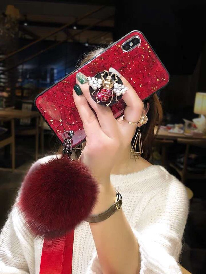premium selection 3d7b7 4d053 2019 New Bee-shaped iPhone & Samsung & HUAWEI Case with PopSockets and  Hairball and 2 Lanyards