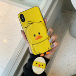 Apple small yellow duck can insert card silicone anti-fall mobile phone protective Phone Cases