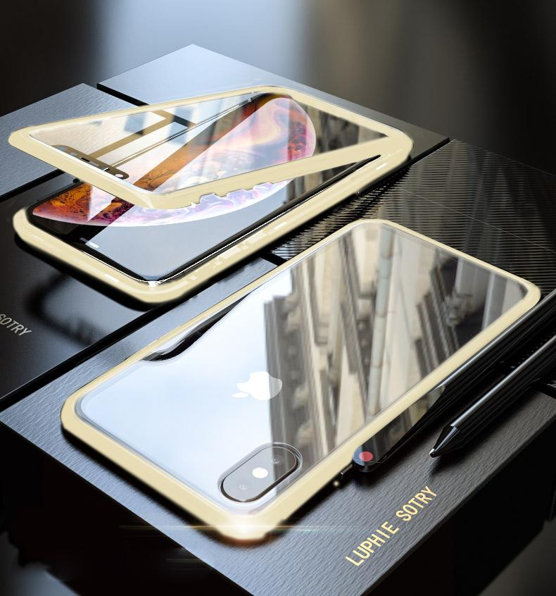 9c59c30f44f Original Magnetic Adsorption Transparent Tempered Glass Two side Glass Cover  Phone Case For iPhone X XS