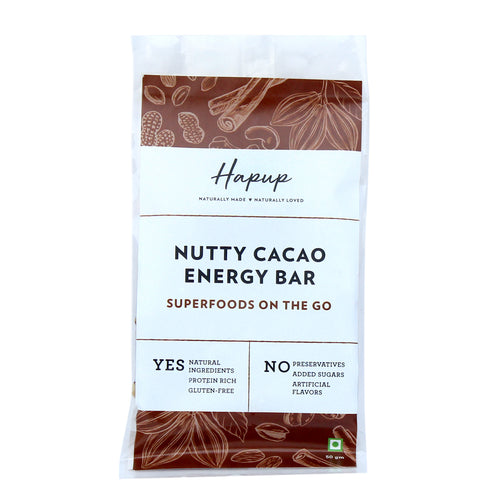 Hapup Nutty Cacao Energy Bar - Combo Pack of 6