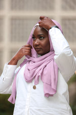 Limited Edition Gold Medallion Hijab / Scarf- Iris Mauve - Modestia Collection is a scarf brand with a higher purpose, representing the eclectic style of a diverse and inclusive community of scarf lovers.