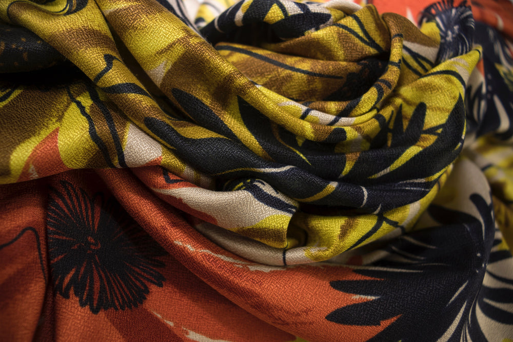 Botanical Garden - Dijon Orange - Modestia Collection is a scarf brand with a higher purpose, representing the eclectic style of a diverse and inclusive community of scarf lovers.
