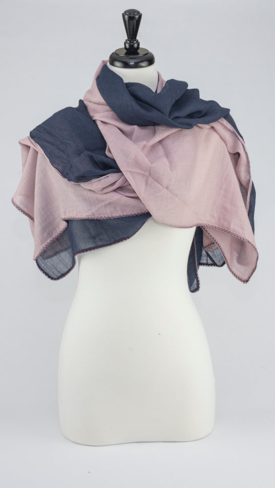 Color Block - Navy and Pink Himalayan - Modestia Collection is a scarf brand with a higher purpose, representing the eclectic style of a diverse and inclusive community of scarf lovers.