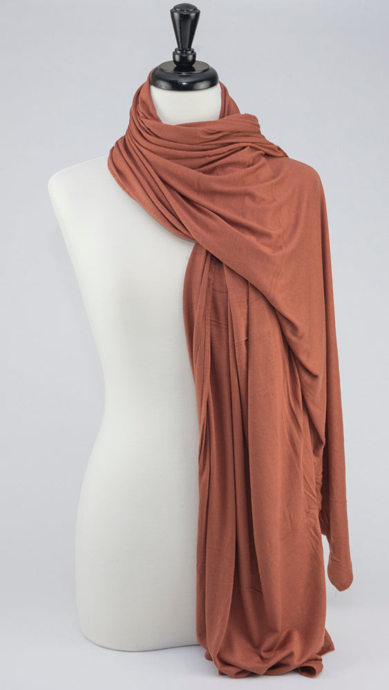 Jersey Cinnamon Rust Orange - Modestia Collection is a Detroit scarf based brand with a curated for Detroiter's and to the eclectic style of scarf lovers around the globe.