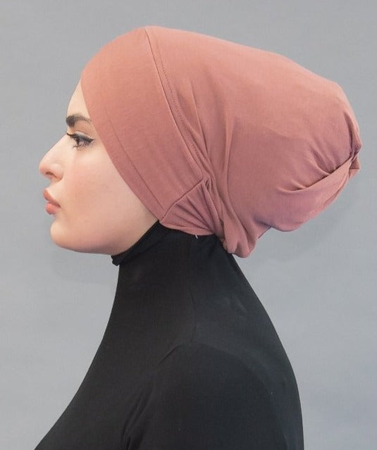 Criss Cross Tie-back Cap - Desert Rose - Modestia Collection hijabs scarves turbans head wraps hijab empowered female empowerment community global community