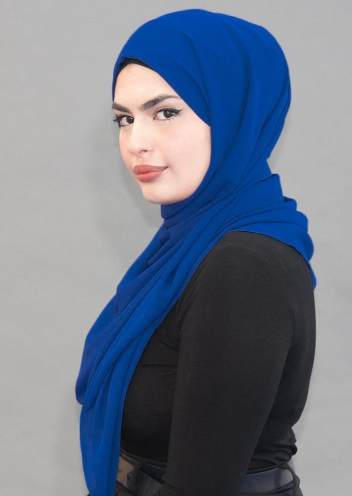 Limited Edition LUXE Chiffon Hijab / Scarf - Egyptian Blue