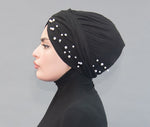 Suede Pearl Turban- Black - Modestia Collection is a scarf brand with a higher purpose, representing the eclectic style of a diverse and inclusive community of scarf lovers.