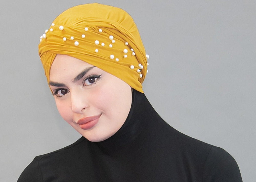 Suede Pearl Turban- Mustard - Modestia Collection hijabs scarves turbans head wraps hijab empowered female empowerment community global community