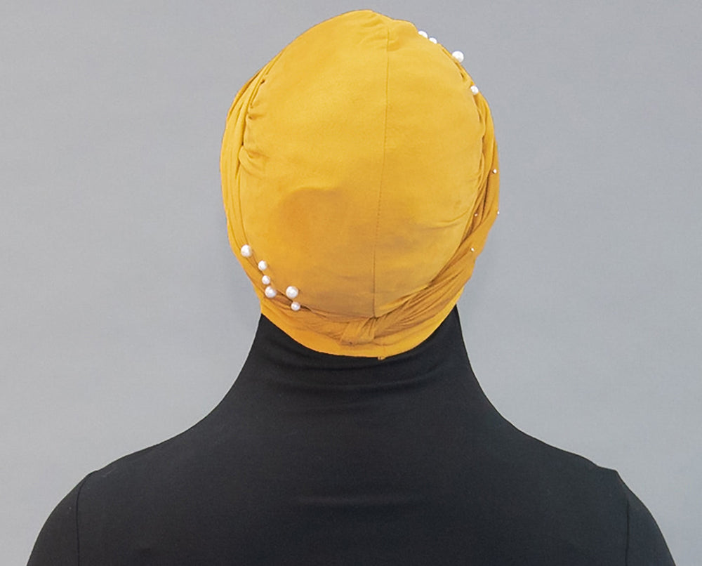 Suede Pearl Turban- Mustard - Modestia Collection is a Detroit scarf based brand with a curated for Detroiter's and to the eclectic style of scarf lovers around the globe.