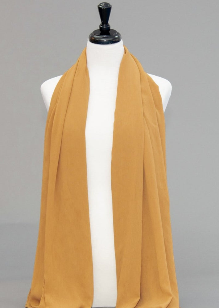 "Chiffon Scarf- Ochre ( AKA ""Mustard "" for us Normal people) - Modestia Collection is a Detroit scarf based brand with a curated for Detroiter's and to the eclectic style of scarf lovers around the globe."