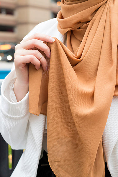 "Textured Chiffon Ochre ( AKA ""Mustard "" for us Normal people) - Modestia Collection hijabs scarves turbans head wraps hijab empowered female empowerment community global community"