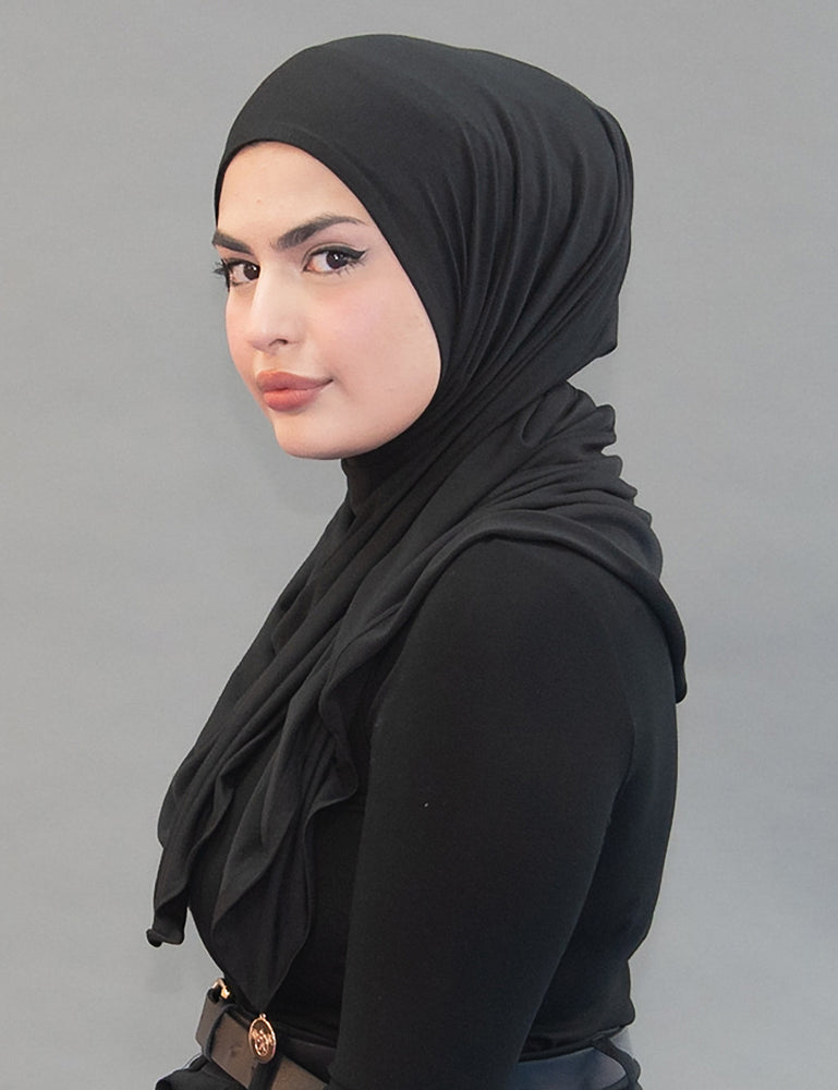One Step Jersey Hijabs - Midnight Black - Modestia Collection is a Detroit scarf based brand with a curated for Detroiter's and to the eclectic style of scarf lovers around the globe.