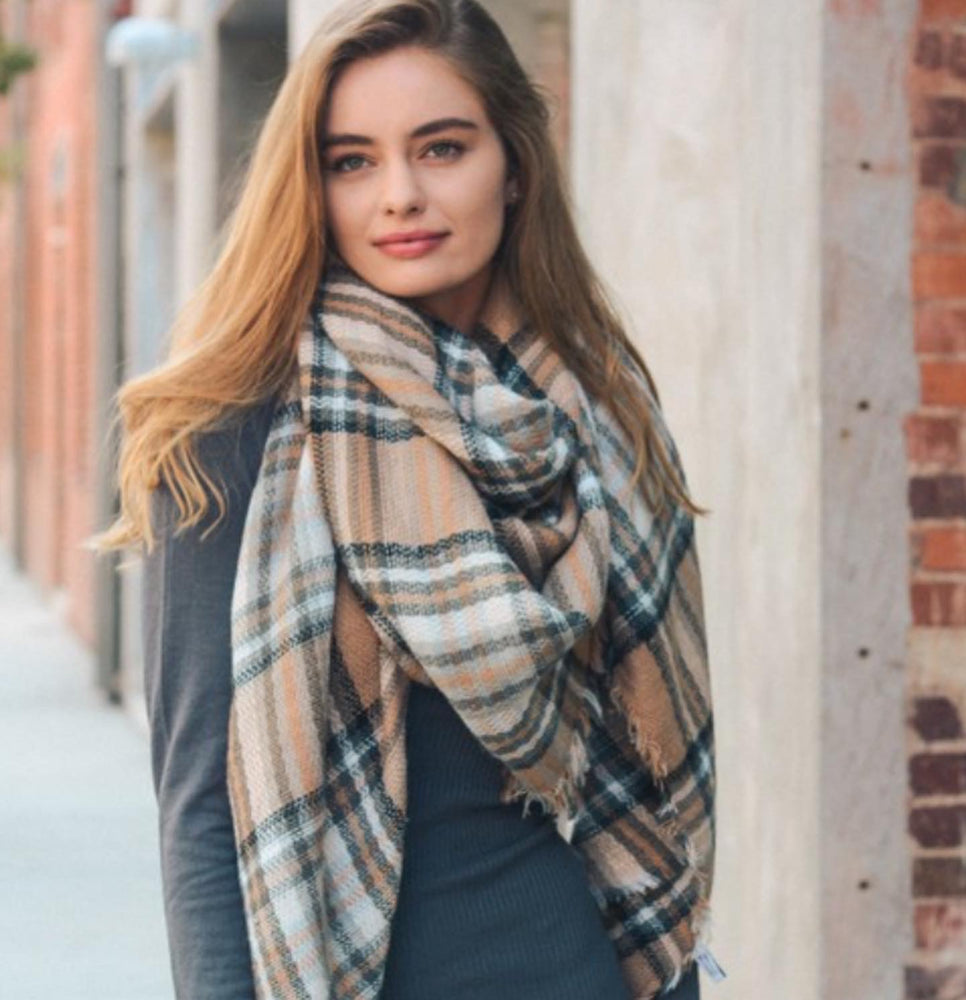 Cozy Cotton Tartan -Beige - Modestia Collection is a Detroit scarf based brand with a curated for Detroiter's and to the eclectic style of scarf lovers around the globe.