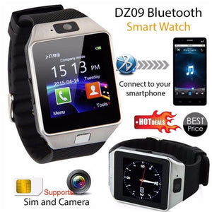 Smartwatch Reloj Intelligent Sport Gold Smart Wristwatch DZ09 Support TF SIM Camera For Women Men Unisex Clock for Android Phone