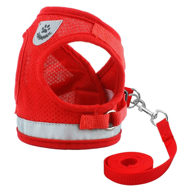 Dog Cat Harness Pet Adjustable Reflective Vest Walking Lead Leash for Puppy Polyester Mesh Harness for Small Medium Dog