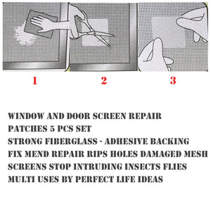 5pcs Window Door Screen Repair Patch Anti-Insect Fly Bug Screen Patch Kit Mosquito Adhesive Repair Tool #RN
