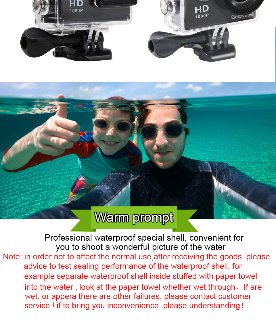 GEEKAM A9 Action Camera 1080P 140D Full HD 2''  30M Waterproof Outdoor Mini Cam 1920*1080 go Sports Video pro Camera