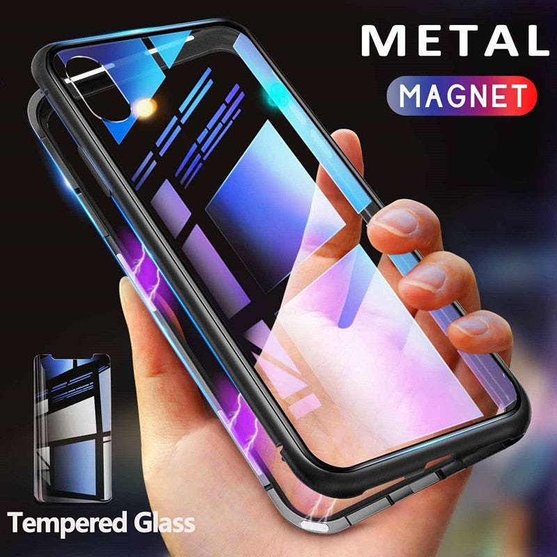 GETIHU 360 Metal Magnetic Case for iPhone Xs Max Xr X 8 Plus +Tempered Glass Back Cover Magnet Case for iPhone 7 6 6s Plus Coque