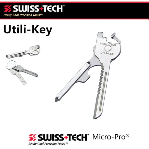 SWISS TECH New EDC 6 in 1 Stainless Steel Utili-Key Key Ring Chain Pocket Cutter Screwdriver Multi Tools Camping Survival Kit