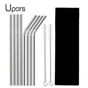 8Pcs Reusable Drinking Straw Made From High Quality 304 Stainless Steel With Brush