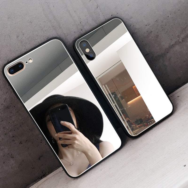 Luxury Clear Makeup Mirror Phone Case for iPhone 8 7 6 6S