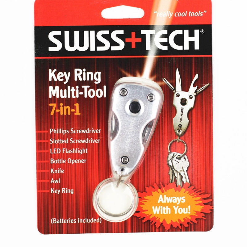 Swiss Tech 7 in 1 Key Ring Multi-Tool with LED light