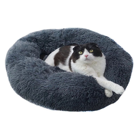 Plush Pet Donut Bed. Faux Fur Fleece Lined Pet Bed For Ultimate Comfort. Suitable For Dogs And Cats