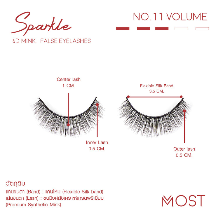 SPARKLE 6D MINK FALSE EYELASHES NO.11(แพค3คู่)