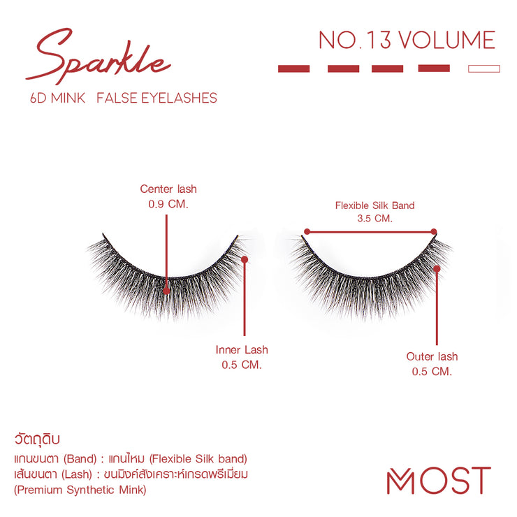 SPARKLE 6D MINK FALSE EYELASHES NO.13