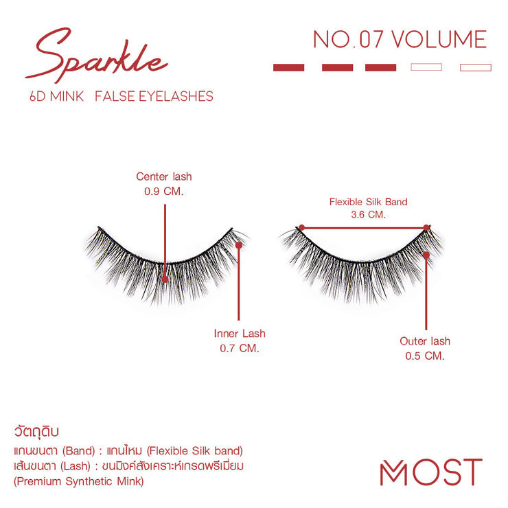 SPARKLE 6D MINK FALSE EYELASHES NO.07 (แพค3คู่)