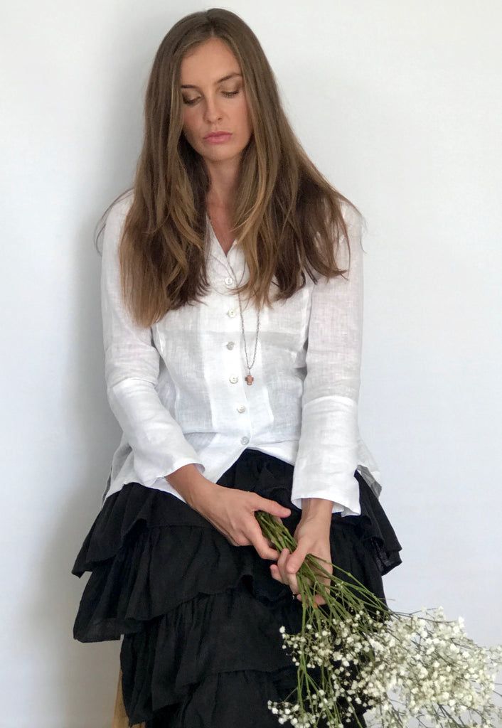 AUDREY LINEN SHIRT - White or Black