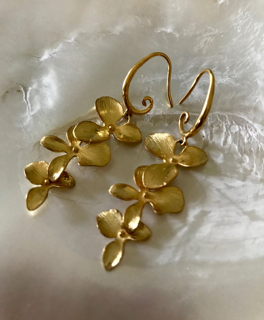 GOLD IRIS EARRINGS- ROSE AND YELLOW