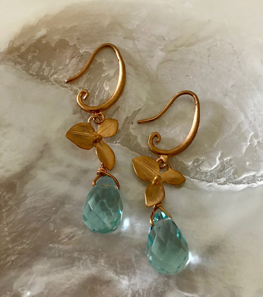 BLUE IRIS EARRINGS- ROSE OR YELLOW GOLD