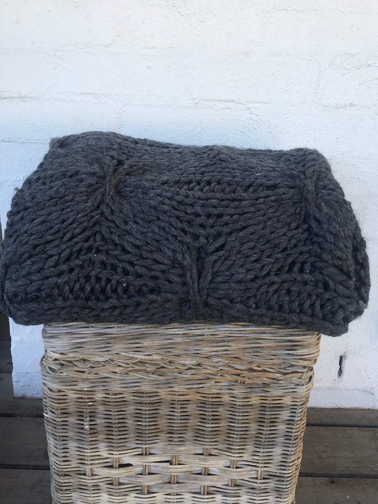 WOOLLEN  BLANKET -  GREY AND CHARCOAL